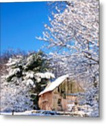 Winter Barn Scene-warren Ct Metal Print by Thomas Schoeller