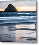 Winter Beach Stroll Metal Print