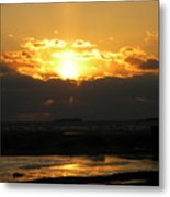 Winter Beach Sunset Metal Print