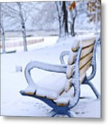 Winter Bench Metal Print