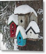 Winter Birdhouses Metal Print