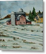 Winter Down On The Farm Metal Print by Charlotte Blanchard
