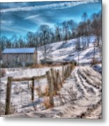 Winter Farm Barn In Snow  Metal Print