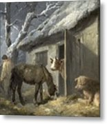 Winter Farmyard Metal Print