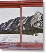 Winter Flatirons Boulder Colorado Red Barn Picture Window Frame  Metal Print
