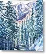 Winter Forest And Mountains Metal Print