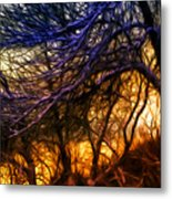 Winter Forest Sunset Oil Style Metal Print