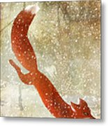 Winter Game Fox Metal Print