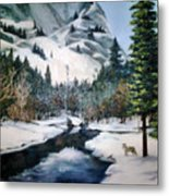 Winter Half Dome Metal Print