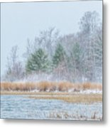 Winter Hoarfrost On The River Metal Print