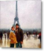 Winter Honeymoon In Paris Metal Print