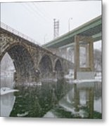 Winter In East Falls Along The Schuylkill River Metal Print