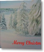 Winter In Gyllbergen Merry Christmas Red Text Metal Print
