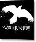 Winter Is Here - Large Raven Metal Print