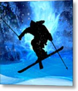 Winter Landscape And Freestyle Skier Metal Print