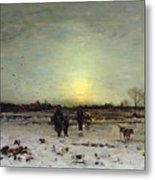 Winter Landscape At Sunset Metal Print by Ludwig Munthe