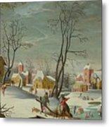 Winter Landscape Of A Village Metal Print