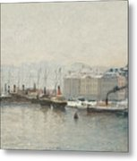 Winter Landscape Over Skeppsbron, Stockholm Metal Print