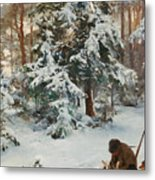 Winter Landscape With Hunters And Dogs Metal Print