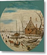 Winter Landscape With Skaters And A Farm House Metal Print
