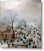 Winter Landscape With Skaters Metal Print