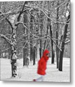 Winter Landscape With Walking Gir In Red. Blac White Concept Gra Metal Print