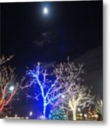 Winter Lights Full Moon Metal Print