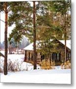 Winter Log Cabin 3 - Paint Metal Print
