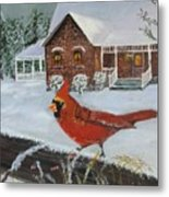 Winter Male Cardinal Metal Print