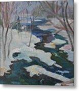 Winter Mill Stream  Metal Print