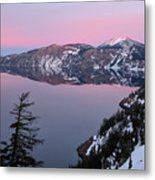 Winter Mirror At Crater Lake Metal Print