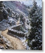 Winter Mountain Path Metal Print