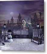 Winter Night Scene Metal Print