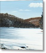 Winter On An Ontario Lake  Metal Print
