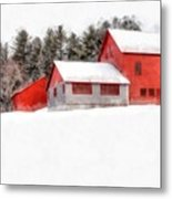 Winter On The Farm Enfield Metal Print
