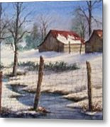 Winter Out Buildings Metal Print