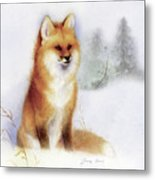 Winter Red Fox Metal Print