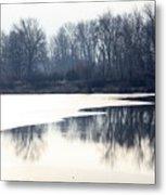 Winter Reflection On The Yakima River Metal Print