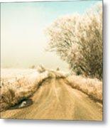 Winter Road Wonderland Metal Print