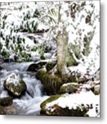 Winter Rushing Stream Metal Print