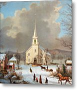 Winter Scene, C1875 Metal Print