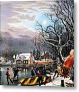 Winter Scene: Evening 1854 Metal Print