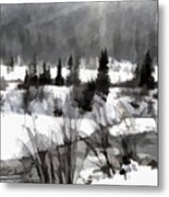 Winter Scene In Black And White Metal Print