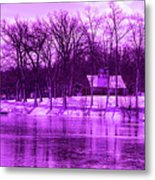 Winter Scene In Violet Metal Print