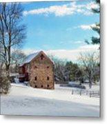 Winter Scene On A Pennsylvania Farm Metal Print