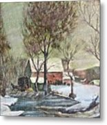 Winter Scene With Horse Metal Print