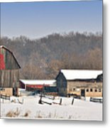 Winter Shed And Barn Metal Print