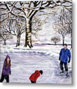Winter Skating In Quebec Metal Print