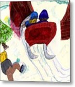 Winter Sleigh Ride Through The Tunnel Metal Print