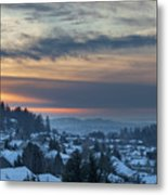 Winter Snow At Sunset In Happy Valley Oregon  Metal Print